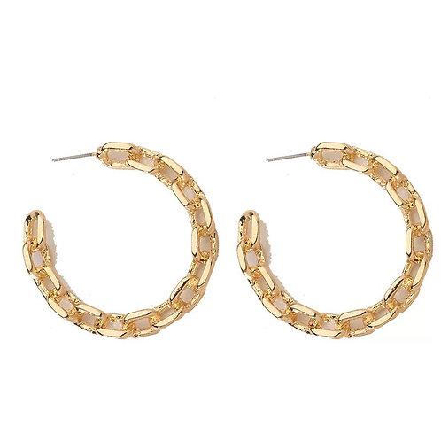 Gold Link Hoop Earring