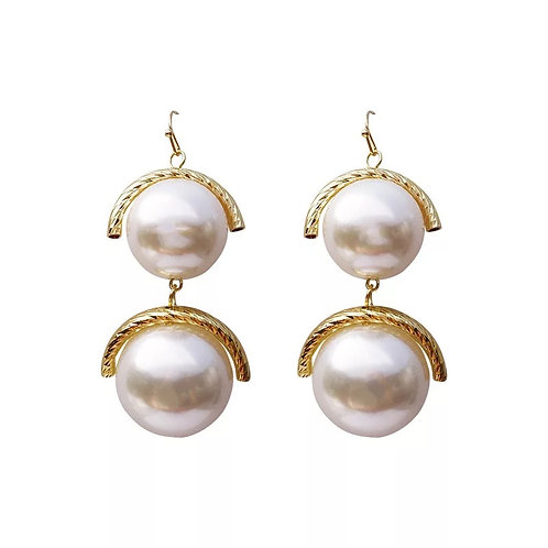 Stacked Pearl Drop Earring