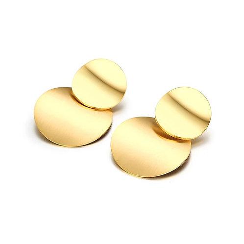 Gold Disc Drop Earring