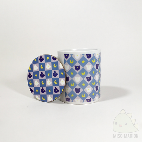Moon Cats Pattern Mug & Coaster Set