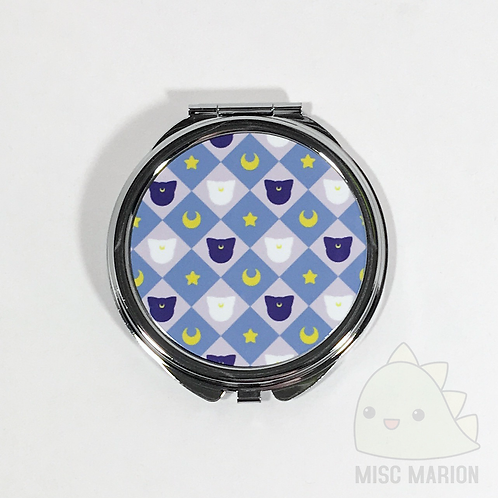 Moon Cats Pattern Pocket Mirror