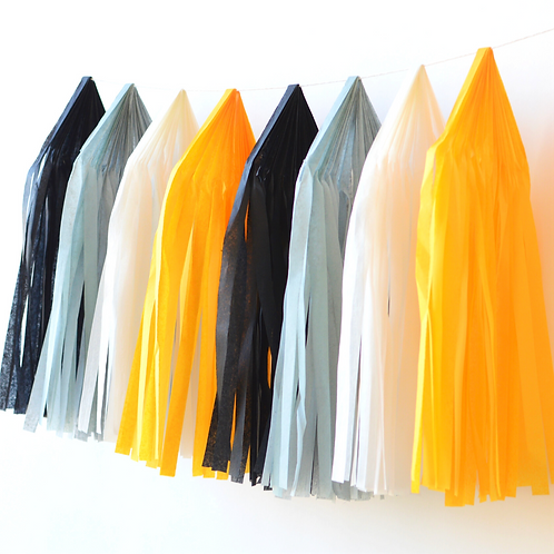Construction Zone Tissue Paper Tassel Garland Kit
