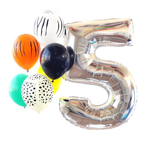 Silver Mega Number Balloon