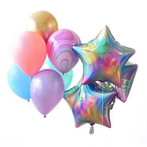 Iridescent Pastel Rainbow Star Balloon