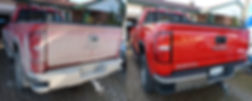 Before and after cleaning pickup truck