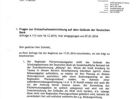 Anfrage zum Deutsche Bank Ausbildungszentrum als HEAE