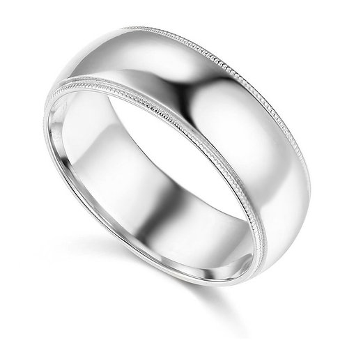 14k White Gold 7-mm Standard-fit Milgrain and polished Wedding Band
