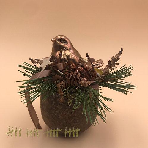 Adventgesteck mit Vögelchen kupfer