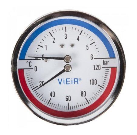 Термоманометр горизонтальный с отечным клапаном 1/2 120°C