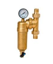 Фильтр свободного вращения промывной с манометром для горячей воды