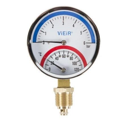Термоманометр вертикальный с отечным клапаном 1/2 120°C