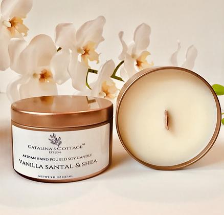 Vanilla Santal Shea Soy Candle 8 oz tin