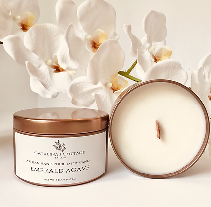 Emerald Agave Soy Candle 8 oz Tin