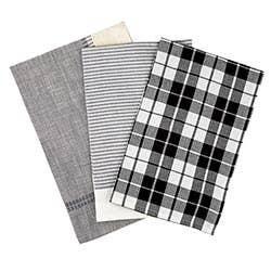 Black & White 3 Pc Cotton Kitchen Towels