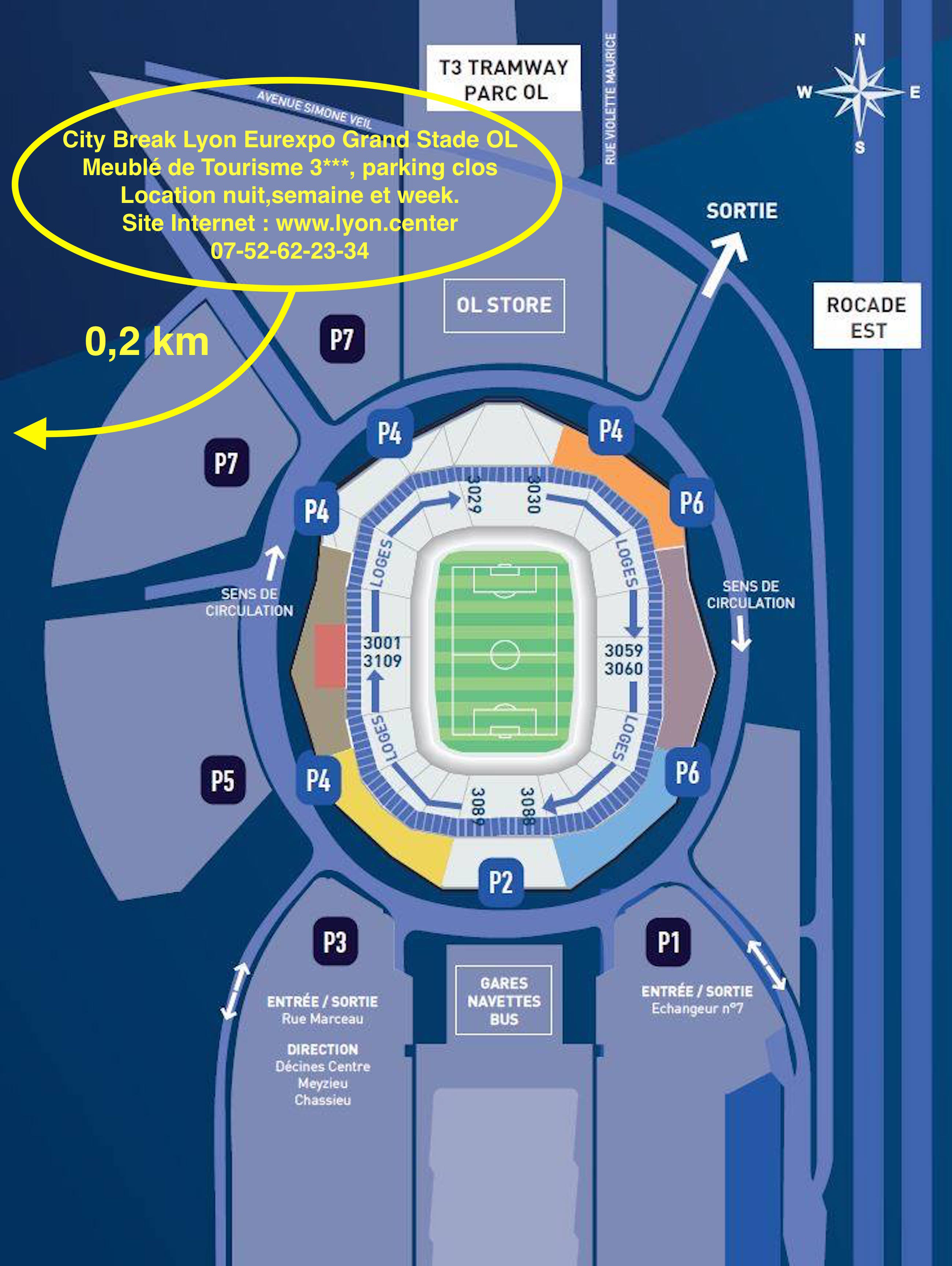plan d 39 acc s grand stade olympique lyonnais city break. Black Bedroom Furniture Sets. Home Design Ideas