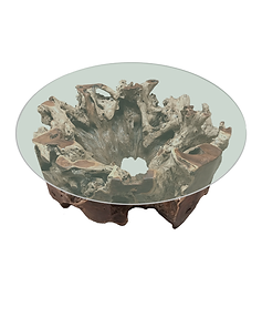 Inverted Stump Coffee Table with Glass