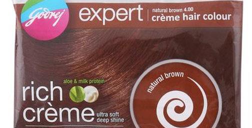 Godrej Expert Rich Crème Ammonia Free Hair Colour, Natural Brown (20 g + 20 ml)