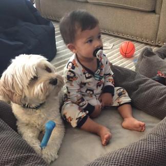 Marley and Jaydon watching morning cartoons