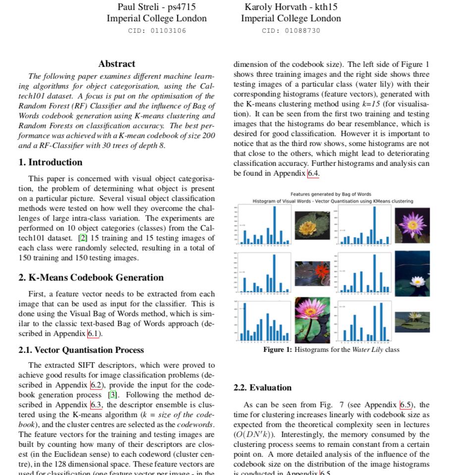 Object Categorisation – Caltech101