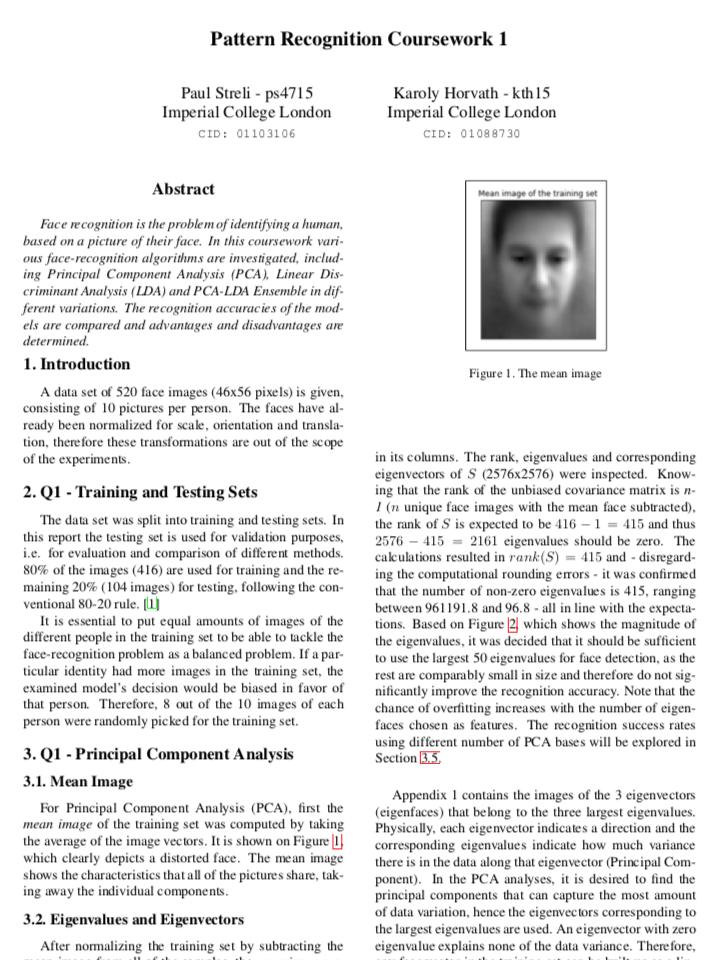 Face Recognition – PCA-LDA