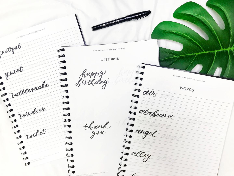 [Inner Page] Self Learn Brush Lettering Workbook