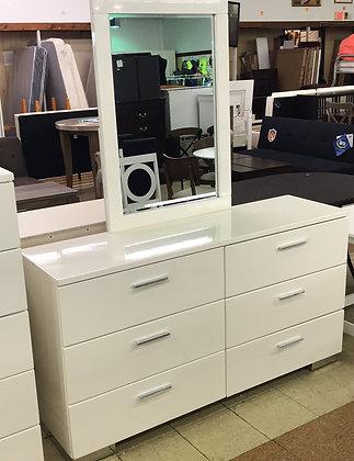 Glossy White Dresser & Mirror