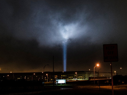 Lights illuminate the World Trade Center, The flight 93 memorial.