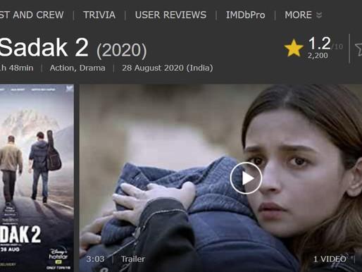 Sadak 2 Becomes Super Flop with 1.2 IMDB Rating