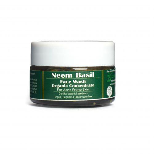 Rustic Art Neem Basil Face Wash Concentrate   Organic & Vegan