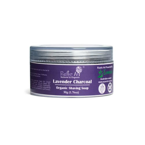 Rustic Art Lavender Charcoal Organic Shaving Soap