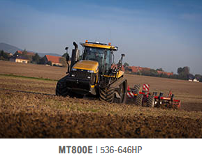 The MT800E Series are the first tracked tractors in the industry to use the new AGCO Power™ 16.8 litre, V12 engine, with the range-topping MT875E producing a rated output of 598hp and maximum power of 646hp.  The new engine uses a combination of SCR (Selective Catalytic Reduction) electronically controlled cEGR (Cooled Exhaust Gas Recirculation) to meet Tier 4 Final/Stage IV engine emission regulations.  The MT800E benefits from a new two-stage cooling system design. In addition to improved air-flow, the compact format gives easier access for cleaning.  Four turbochargers with inter-stage and after cooling ensure an optimal delivery of fresh clean air to the engine, making sure the maximum torque is always delivered at any regime.  The reliable 16F/4R Powershift transmission has been designed specifically for the MT800E tractors.  Electronic transmission control and electronic engine control work together, via the lntellitronics™  network, to manage the shifting function.  These machines have the highest transport speed of any tracked tractor, up to 39.6kph. Gear splits are spaced further apart at the higher transport speeds, requiring minimal gearshifts while maintaining rapid acceleration.