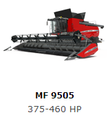 The Massey Ferguson 9505 Series one of the most powerful and efficient combines in its class. Our new two-speed hydrostatic drive with four-speed transmission gets you over hills and through rough terrain with minimal effort. While our unique V-Cool™ engine cooling system combats heat build-up and significantly reduces downtime.