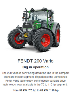 The Fendt 200 Vario is a true star of the compact standard tractor sector. Experience the unbeatable Fendt Vario technology within a power range of 77 to 111 HP maximum power. Enjoy the tried and trusted continuously-variable gearbox and the easy controls. Fendt has constantly developed this technology. Fendt puts 100% into the Vario.
