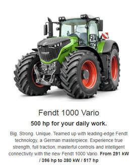 Big. Strong. Unique. Experience true strength, full traction, masterful controls and intelligent connectivity with the new Fendt 1000 Vario.  ModelkWhp 1038291396 1042320435 1046350476 1050380517