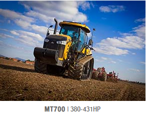 The Challenger MT700E Series are powerd by a new 9.8L AGCO POWER™ 7-cylinder diesel engine offering 380-431 horsepower that possess unmatched lugging ability.  The highly efficent engine offers 1400 ft./lbs of torque at 1,275 RPM - delivering high torque at low engine speed.By generating a greater torque rise over a wider range of RPMs, you get maximum productivity and greater efficiency.Abandon the need to downshift or pull an implement out of the ground should the going get tough.