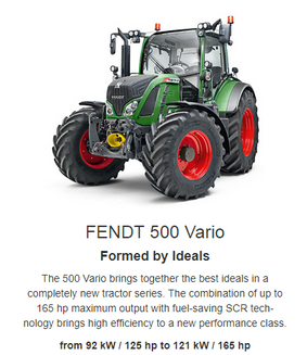 e. The Fendt 500 Vario is the ideal all-round tractor that you can always rely on. It proves to be strong for draft work, precise for cultivation work, especially economical in consumption as well as comfortable and safe for transport. During front loader operations, at the latest, it will convince you with its manoeuvrability and visibility and give your farming enterprise a new quality and therefore an ideal perspective. Fendt 500 Vario. Your ideal perspective.