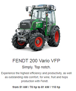 Fendt has been setting new benchmarks for powerful cutting-edge technologies since 2009. Discover the Fendt 200 V/F/P Vario series with its efficiency, productivity and safety, coupled with the ultimate in ride comfort in vineyards, orchards and hop growing. The Fendt Vario offers the right solutions to your problems.