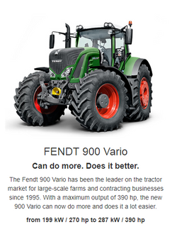 The Fendt 900 Vario has been the leader on the tractor market for large-scale farms and contracting businesses since 1995. With a maximum output of 396 hp, the 900 Vario can simply do more and does it a lot better, thanks to intelligent technology. Benefit from the leading high-horsepower tractor and invest in the Fendt 900 Vario.