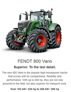 The Fendt 800 Vario is the popular high-horsepower tractor that scores high in compactness, flexibility and performance. With up to 287 hp, they are not only powerful in the field, but also superior for transport work. It is also superior down to the last detail, with smart and efficiency-enhancing technologies, such as the tyre  pressure regulation system VarioGrip, automated steering and much more.