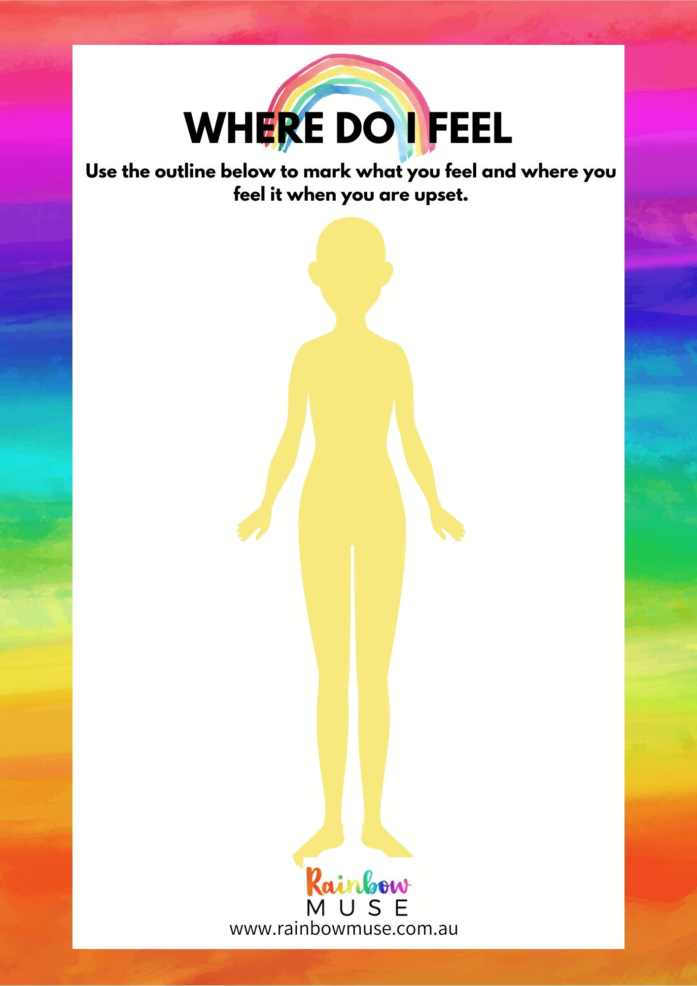 Where Do I Feel Worksheet Rainbow Muse
