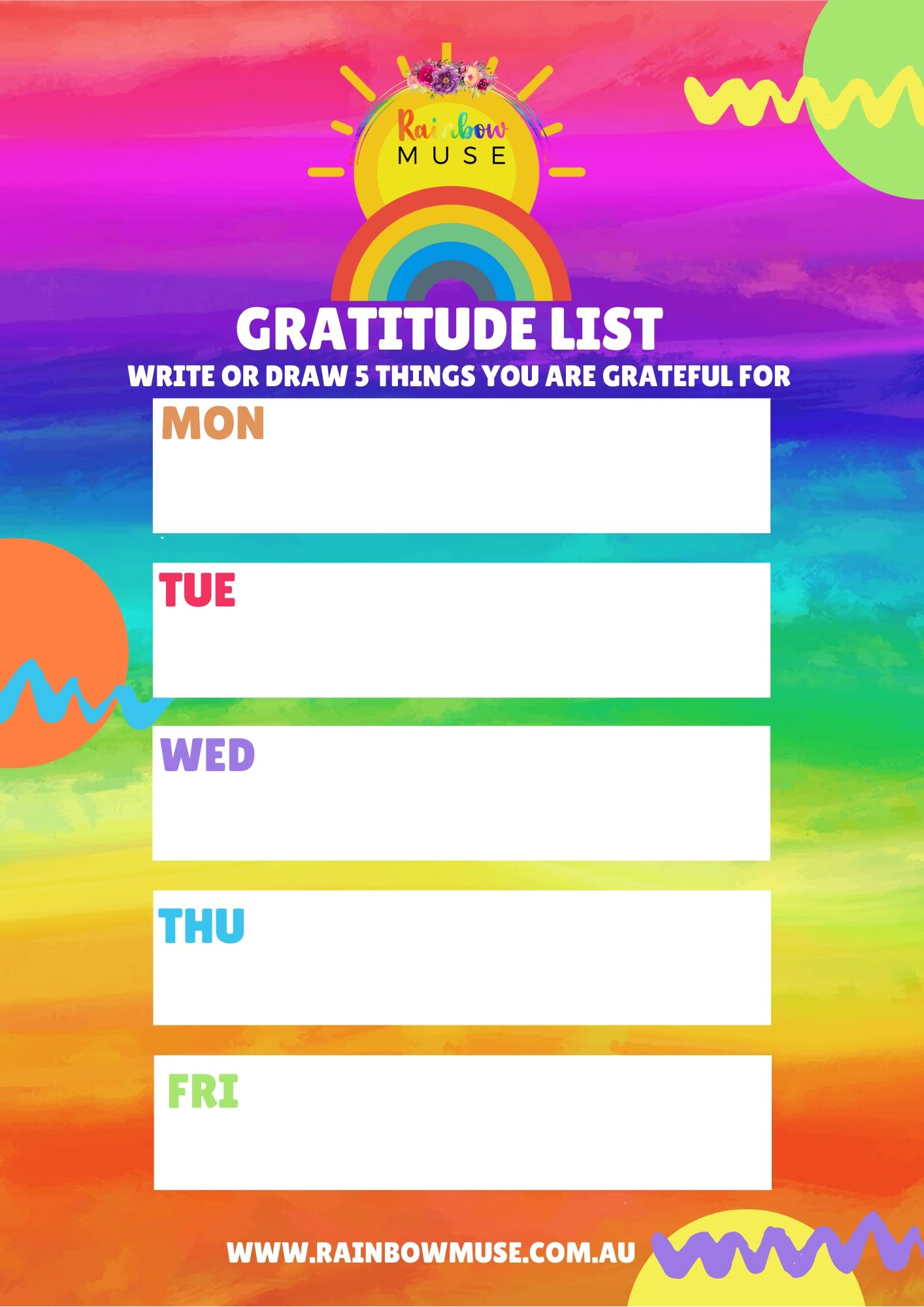 Gratitude List Activity Rainbow Muse