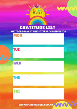 Gratitude List Activity Rainbow Muse