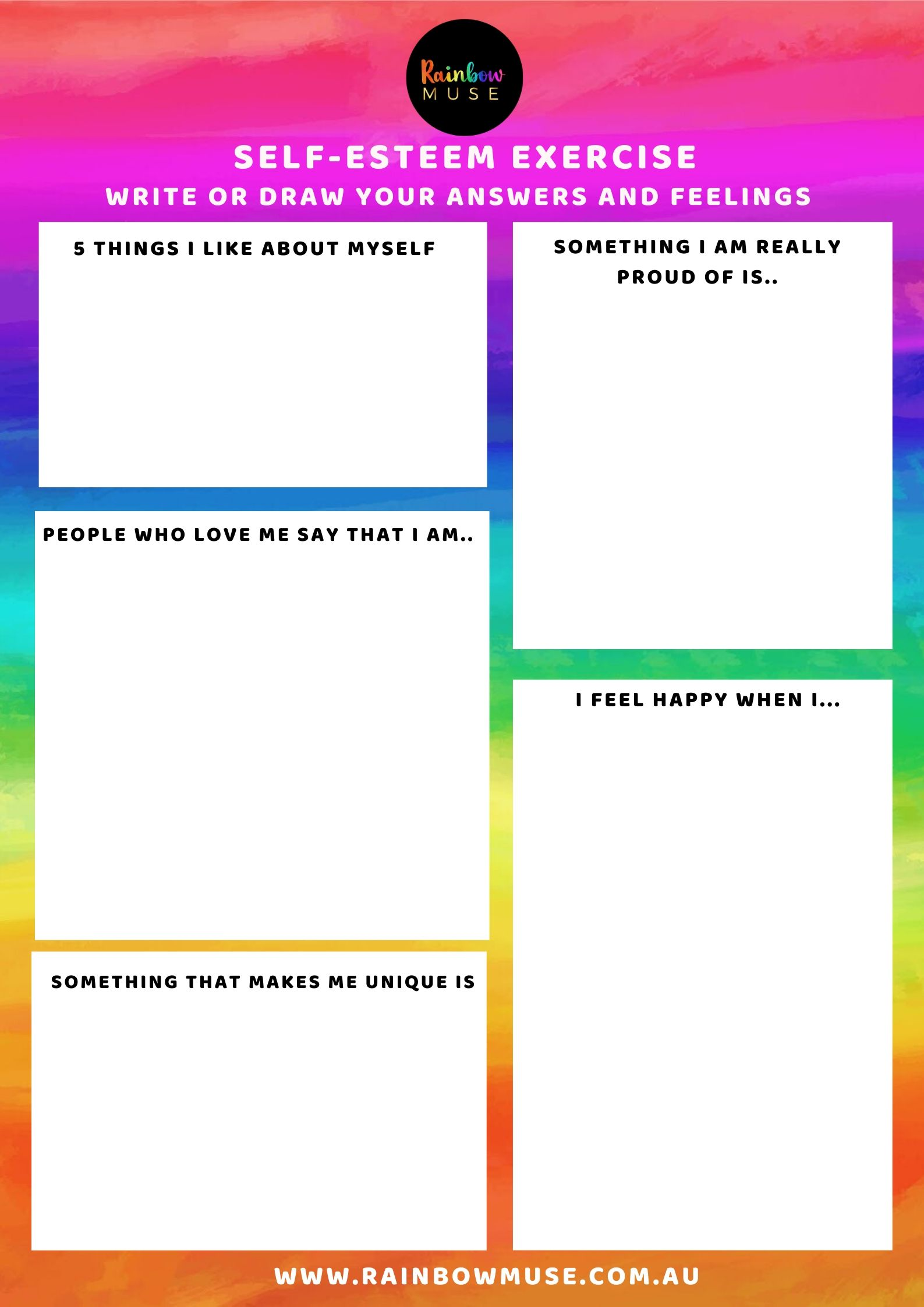Self-Esteem Worksheet Rainbow Muse