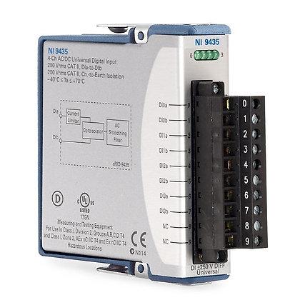 NI 9435 Screw Term, 250 VAC/DC, 3 ms, 4-Ch Sink/Source DI Module
