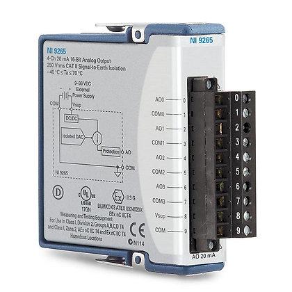 NI 9265 Screw Term, 0 to 20 mA, 16-Bit, 100 kS/s, 4-Ch AO Module