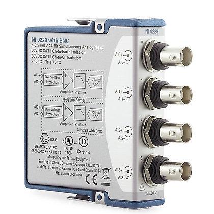 NI 9229 BNC, 4-Ch +/-60 V, 50 kS/s/Ch, 24-Bit,Ch-Ch ISO AI Module