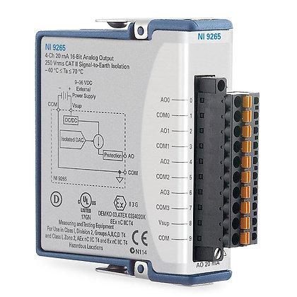 NI 9265 Spring Term, 0 to 20 mA, 16-Bit, 100 kS/s, 4-Ch AO Module