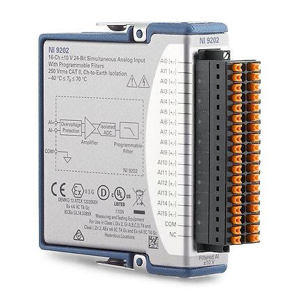 NI 9202, 16-Ch, +/-10 V, 10 kS/s, 24-Bit, AI C Series Module