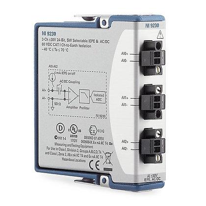 NI 9230, 3-Ch, +/-30 V, 12.8 kS/s/ch, 24-Bit, IEPE AI Module