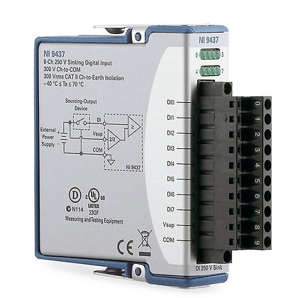 NI 9437, 8-Ch 250 VDC Sinking DI Module, Conformal Coated
